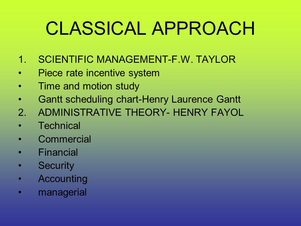 CLASSICAL APPROACH SCIENTIFIC MANAGEMENT-F.W. TAYLOR