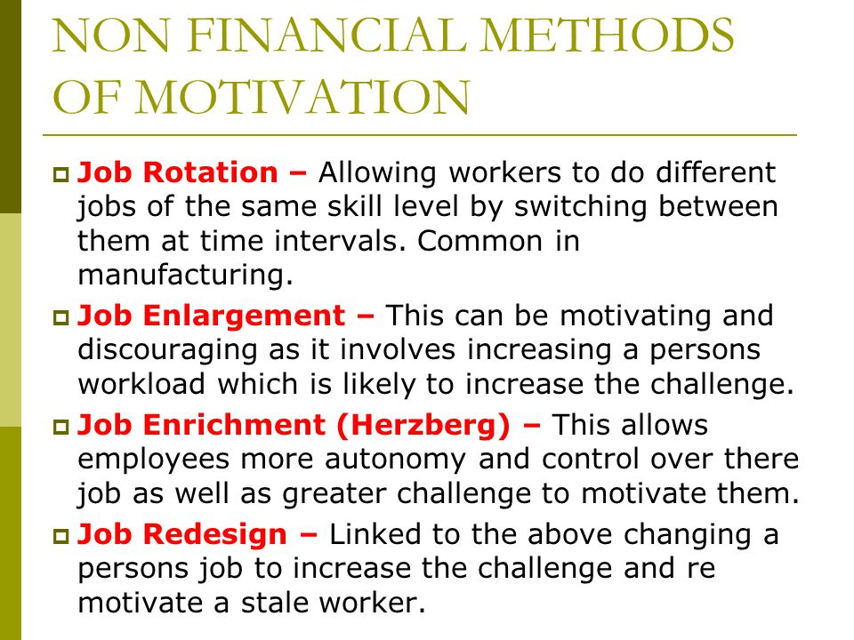 Comparing finance motivation with non finance motivation