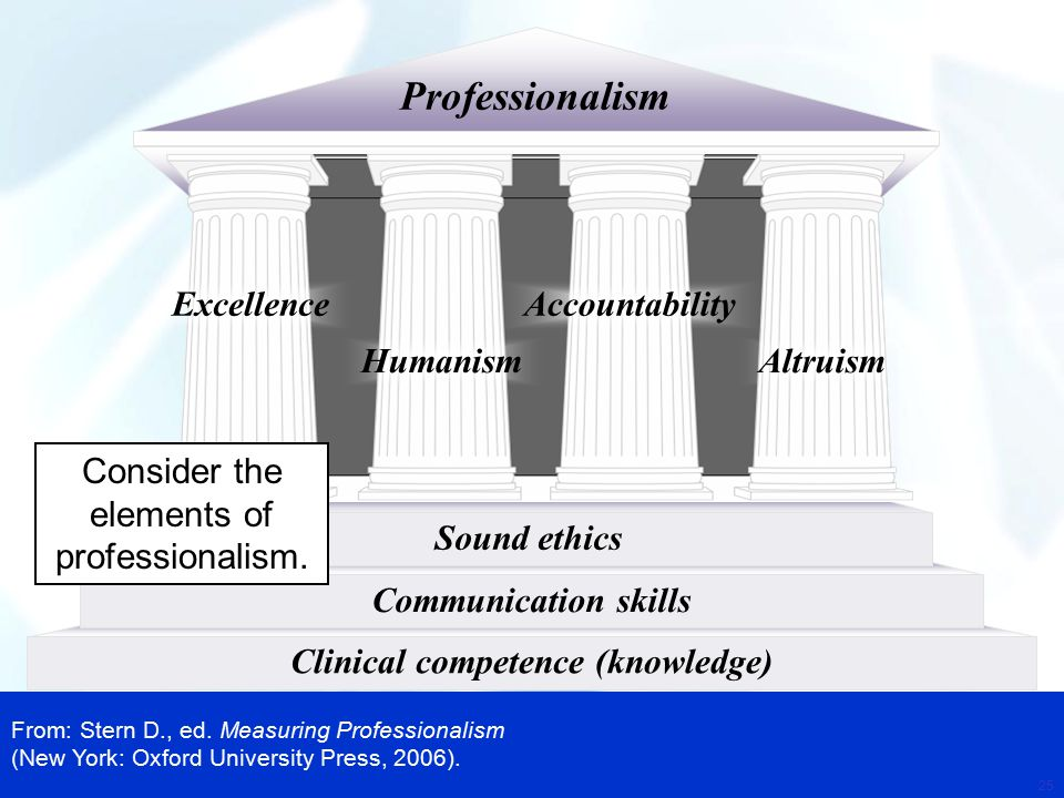 key elements of professionalism and ethics Key values of medical professionalism  ethics and conventions of their  deiuliis summarizes the elements that encompass professionalism in occupational.