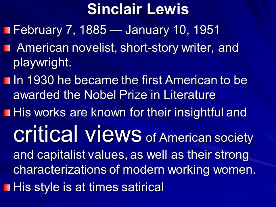 critical essays on sinclair lewis