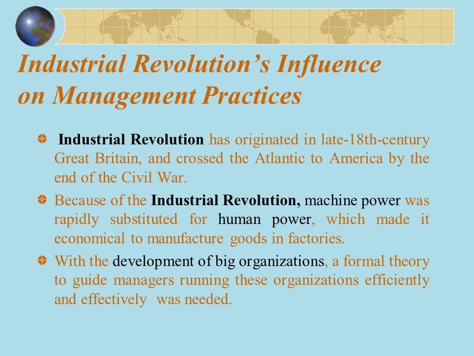 Industrial Revolution's Influence on Management Practices
