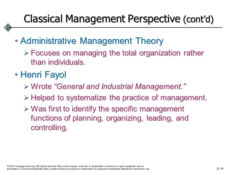 History of The Classical Management Perspective