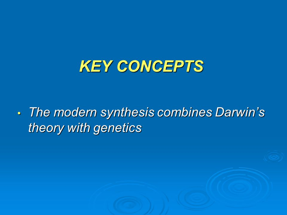 modern synthesis theory The history of evolutionary theory, and the implications of genetics had charles darwin, the man who coined the mechanism of evolution as natural selection been.