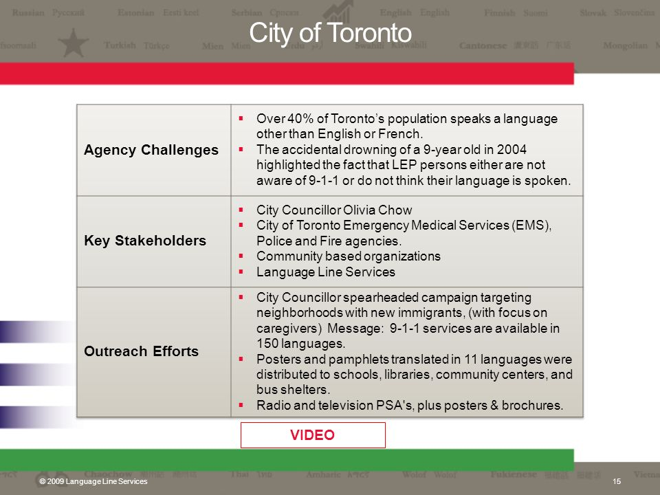 City of Toronto Agency Challenges Key Stakeholders Outreach Efforts
