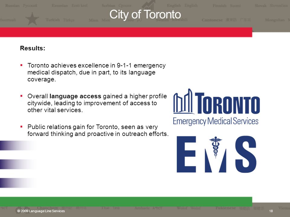 City of Toronto Results: