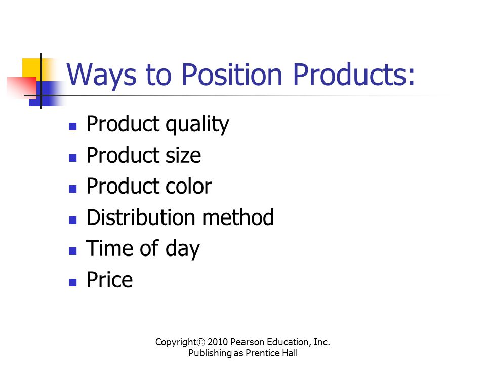 Ways to Position Products: