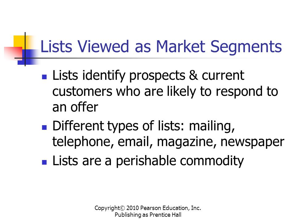 Lists Viewed as Market Segments