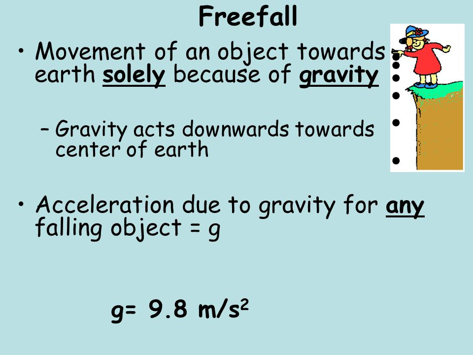 Freefall Movement of an object towards earth solely because of gravity
