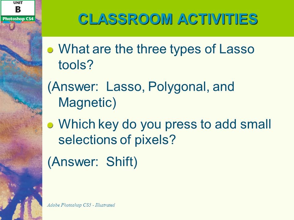 CLASSROOM ACTIVITIES What are the three types of Lasso tools