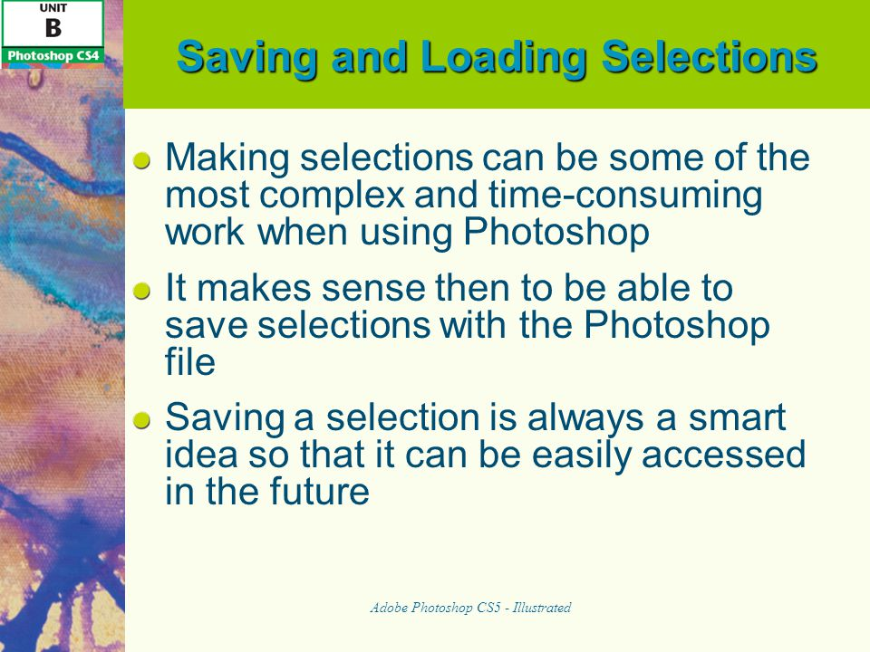 Saving and Loading Selections