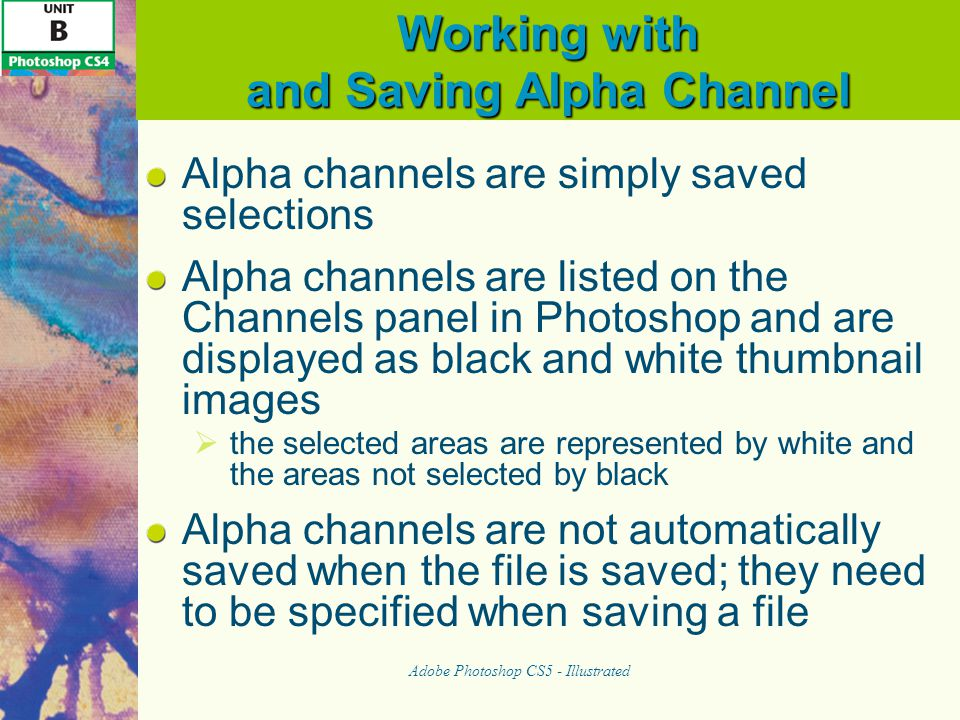 Working with and Saving Alpha Channel