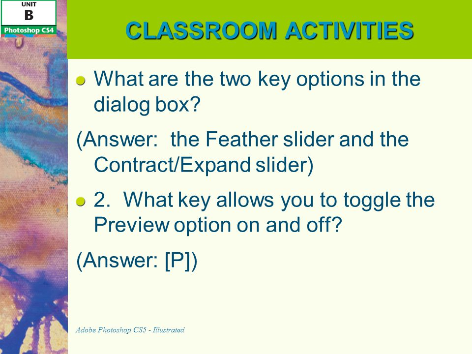CLASSROOM ACTIVITIES What are the two key options in the dialog box