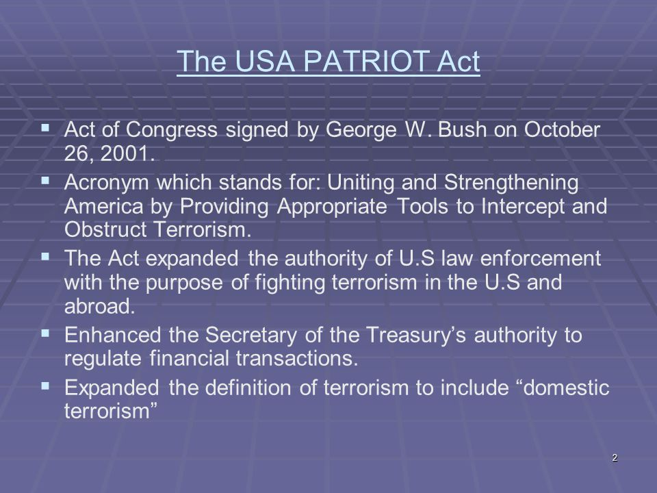 an analysis of the 2001 patriot act The patriot act: liberty afire mark  in conjunction with the initial proposal of the patriot act, on september 17, 2001,  pursuit of empirical analysis (matz.