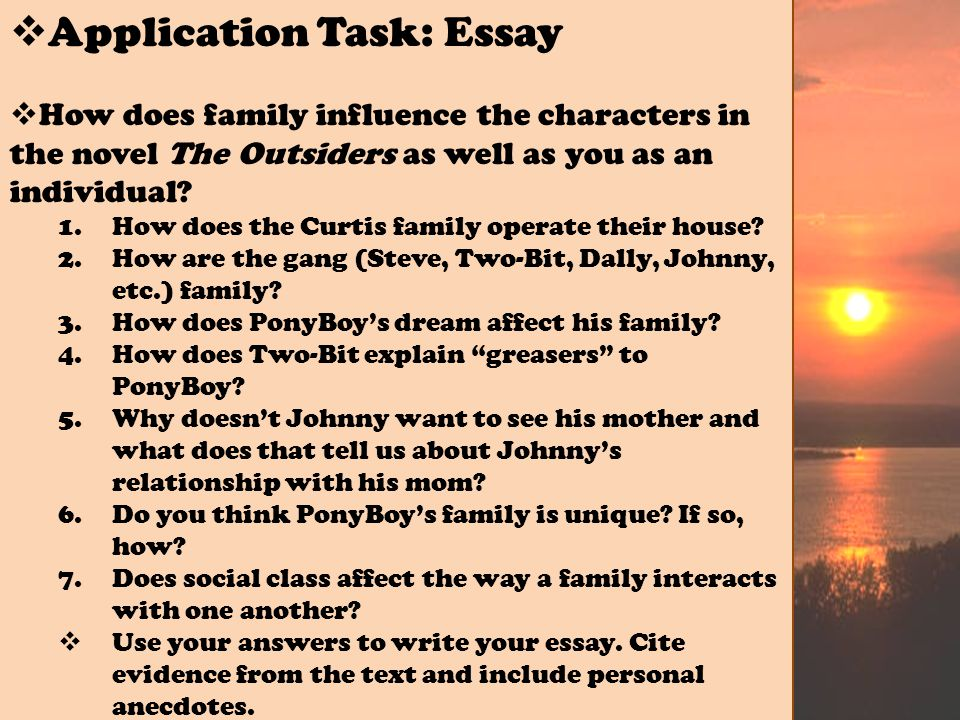 essay about filipino family values The Outsiders Essay