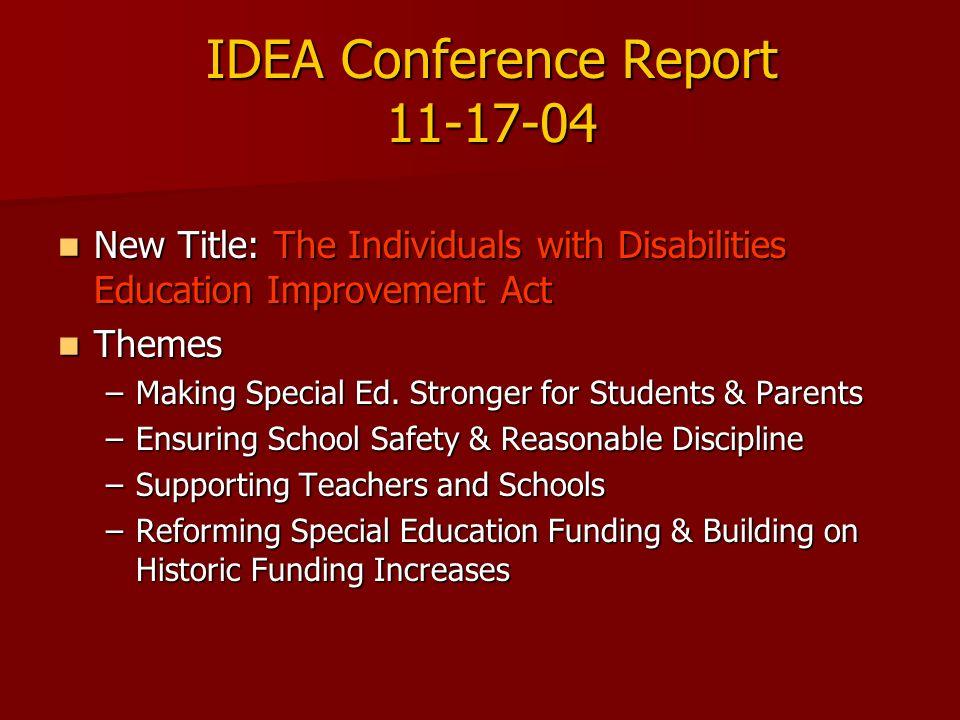 IDEA Conference Report 11-17-04