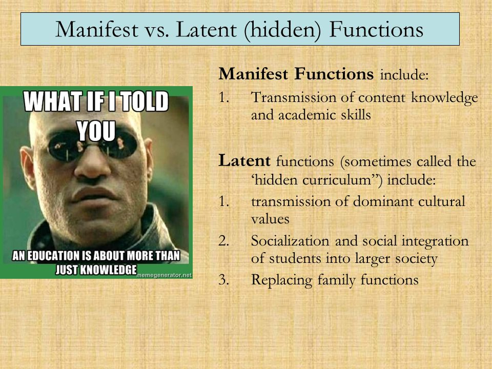 """manifest and latent goals for human service agencies Manifest and latent functions and dysfunctions manifest and latent functions are social sociability and public service, the """"latent"""" function to attach."""