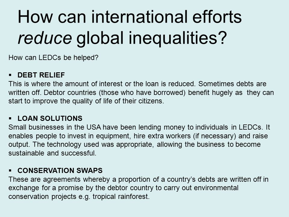 Effectiveness of international efforts to ease
