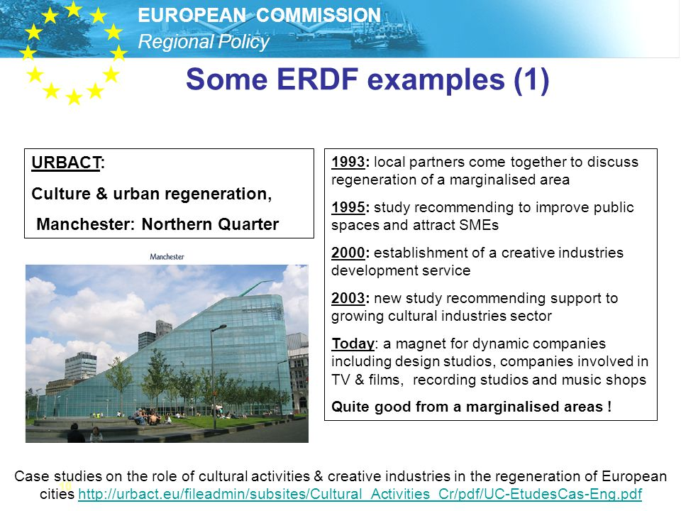 Some ERDF examples (1) URBACT: Culture & urban regeneration,