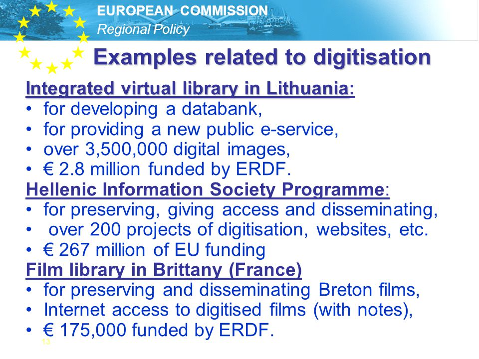 Examples related to digitisation