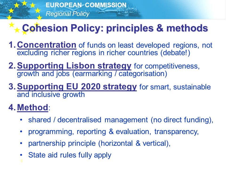 Cohesion Policy: principles & methods