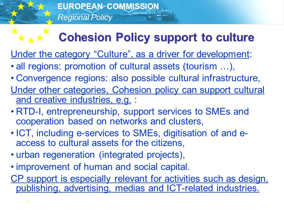 Cohesion Policy support to culture