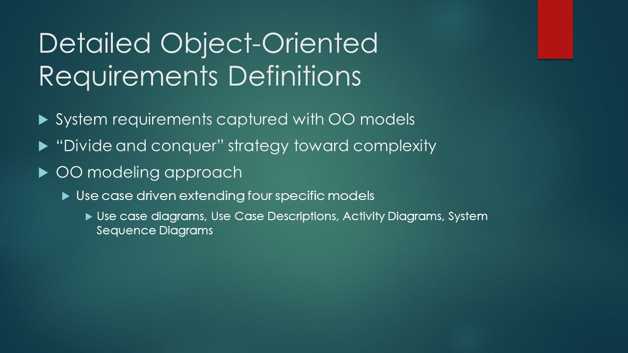 Detailed Object-Oriented Requirements Definitions