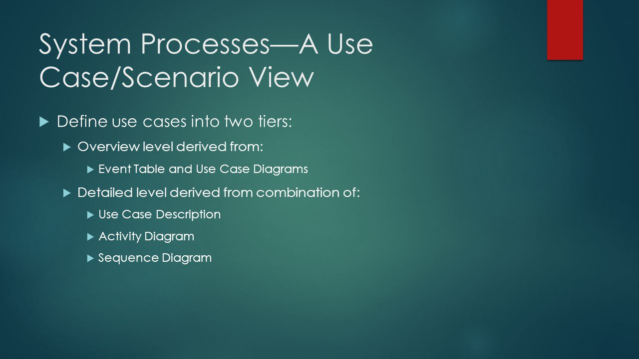 System Processes—A Use Case/Scenario View
