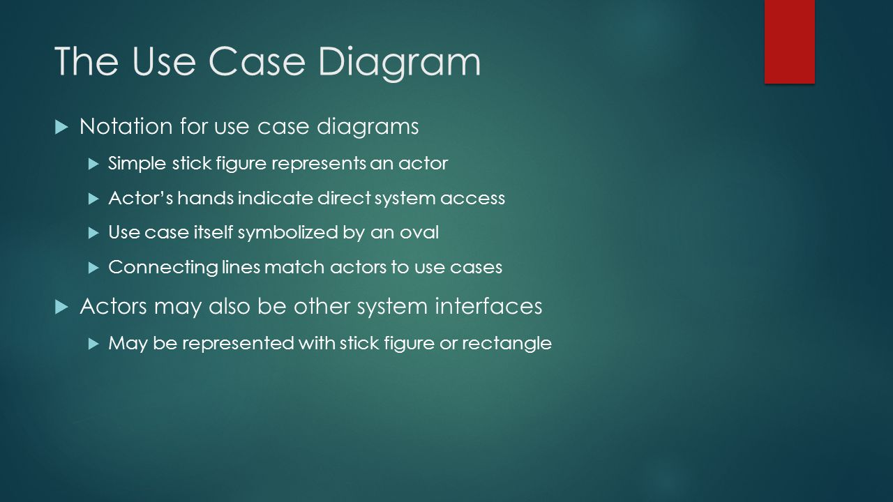 The Use Case Diagram Notation for use case diagrams