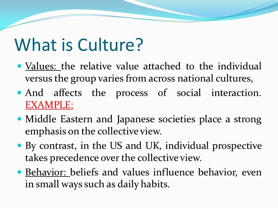 """how communication is influenced by cultures and values of individuals Cultural values and american culture gudykunst and kim (2003) suggest that the """"cultural influences"""" on communication are group-held values, norms, beliefs and attitudes that influence."""