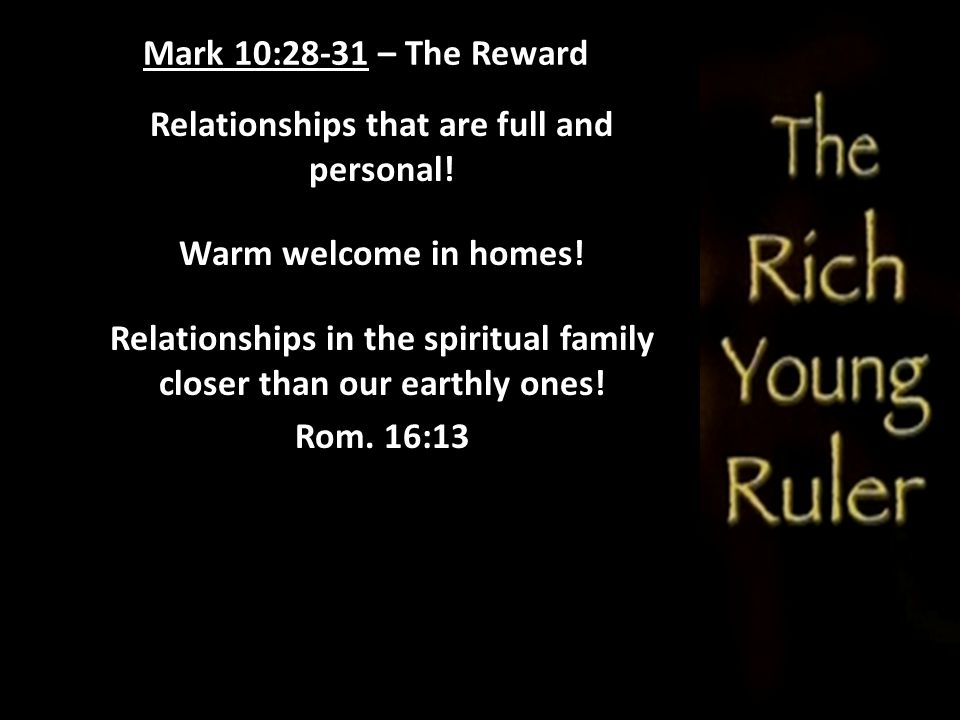 Relationships that are full and personal!