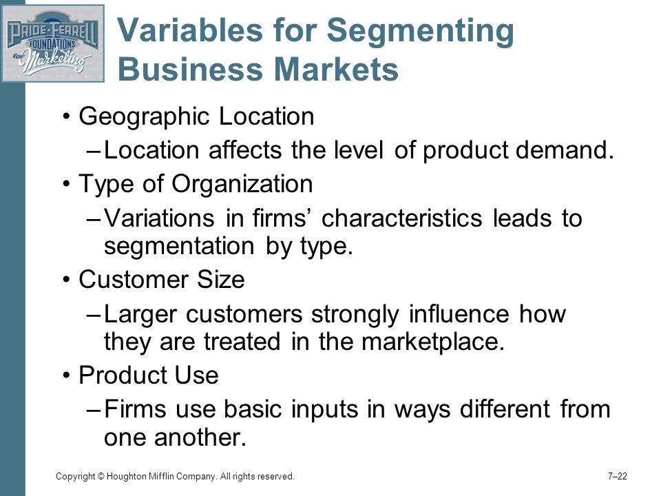 Variables for Segmenting Business Markets