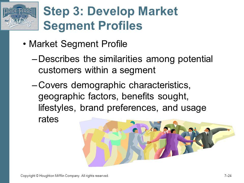 develop profiles for resulting segment Creating a target market profile and positioning statement is a process that helps business owners to identify and communicate with the prospects that offer the.