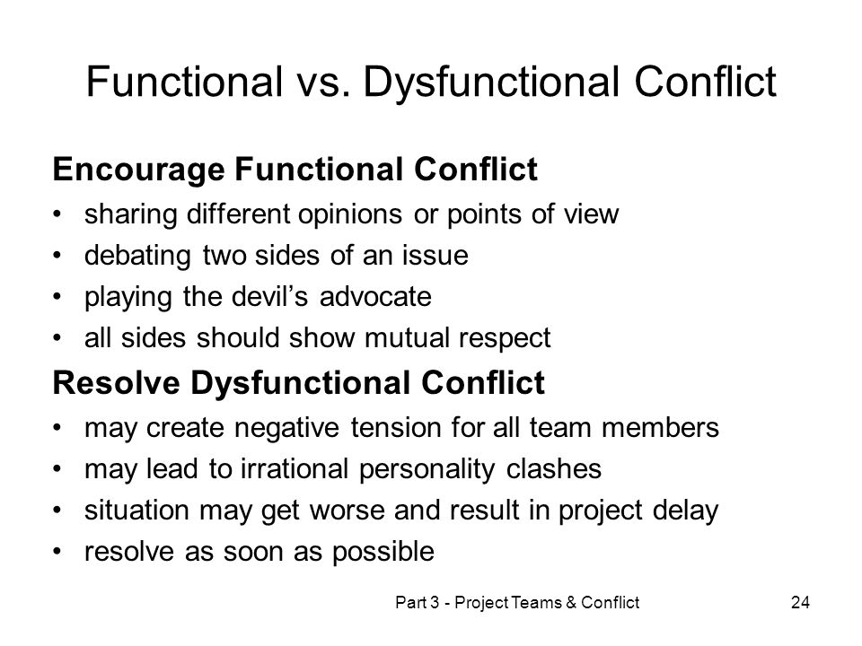examples of functional conflict Differences between destructive & constructive conflict 5 conflict management strategies [examples]   examples of conflicts & resolutions in the workplace.