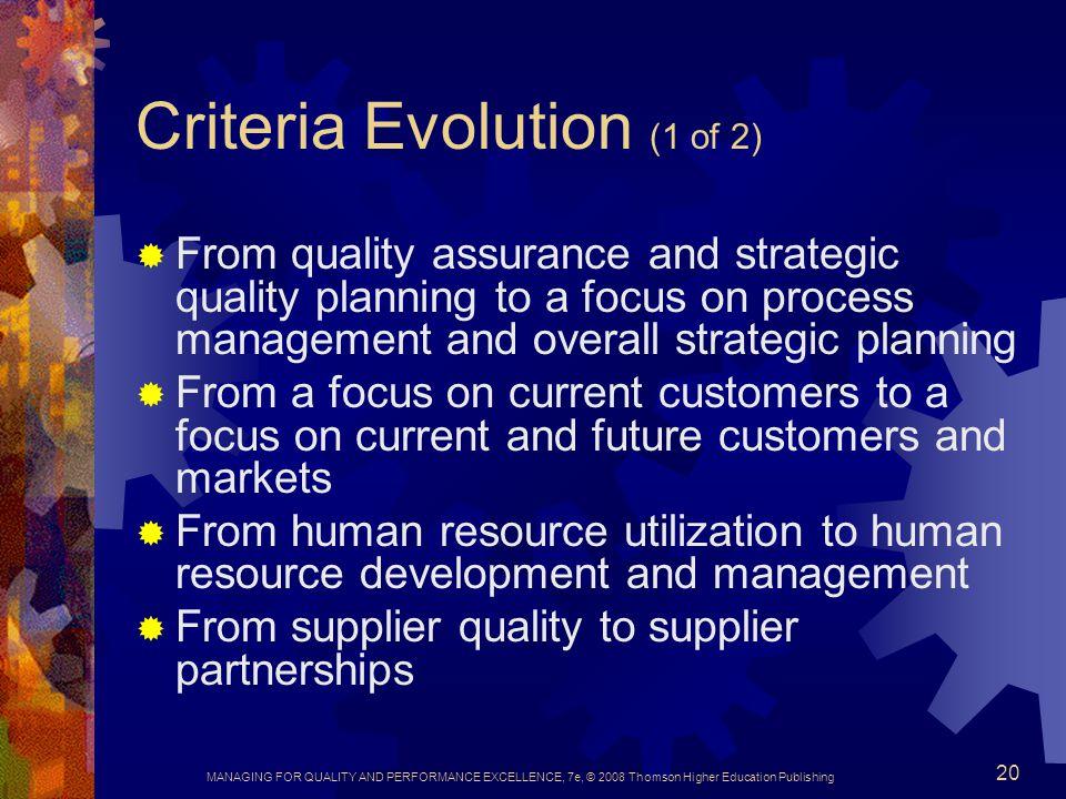Criteria Evolution (1 of 2)