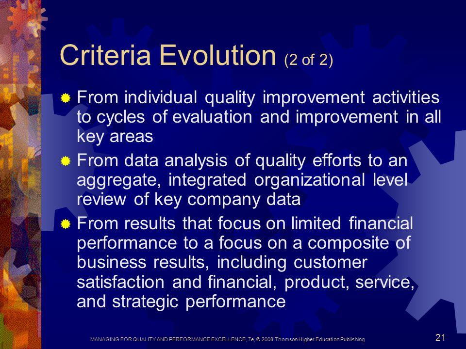 Criteria Evolution (2 of 2)