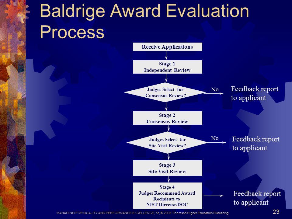 Baldrige Award Evaluation Process