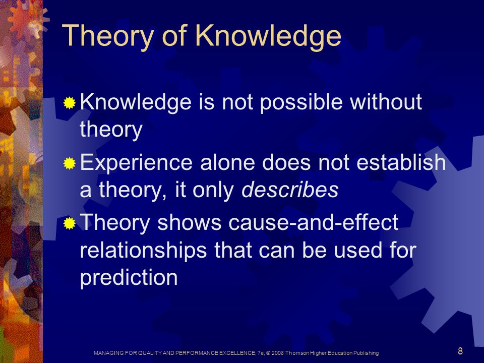 Theory of Knowledge Knowledge is not possible without theory