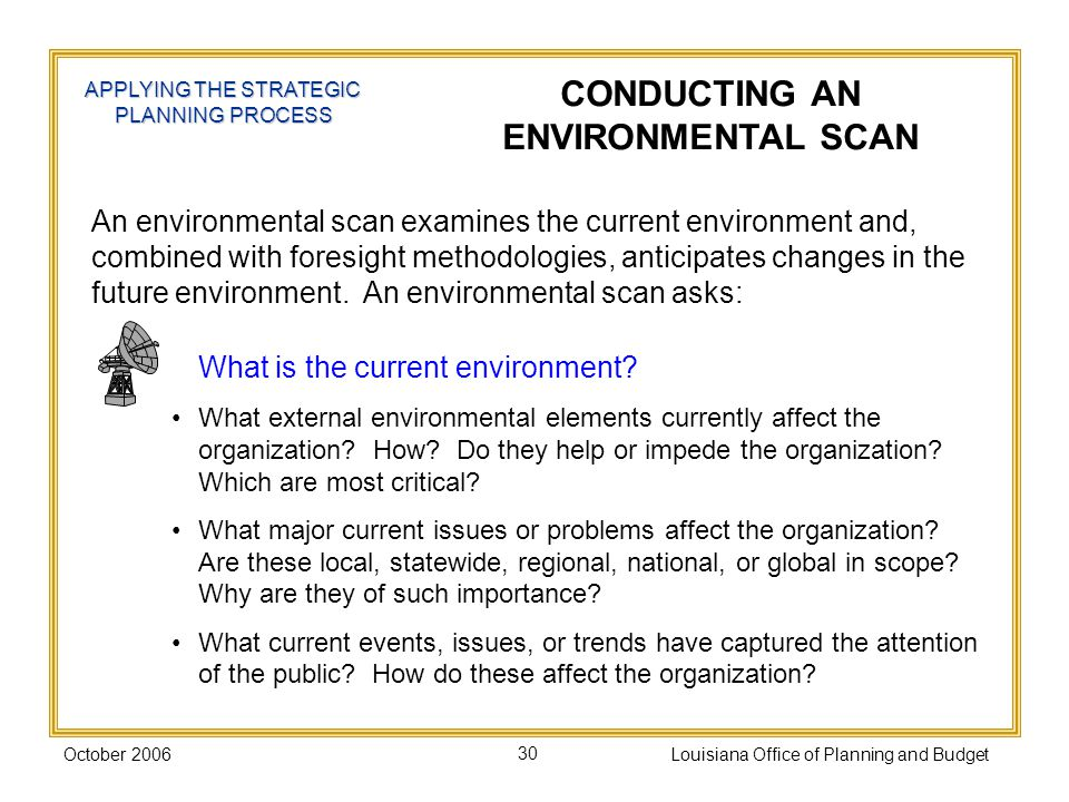 Part ii process plan components ppt download for Environmental scan template