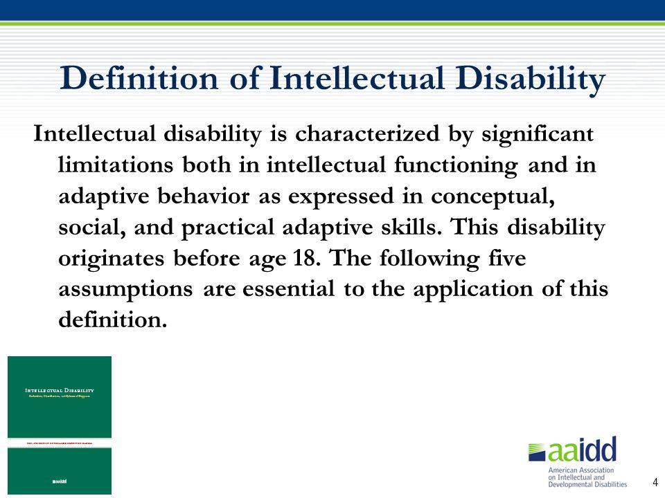 definitions and overviews of intellectual disabilities In this lesson, you will learn to define intellectual disability as well as recognize  factors associated with its cause following your completion.