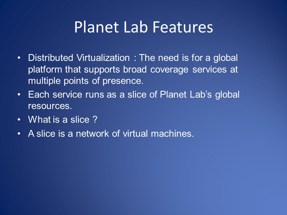 Planet Lab Features