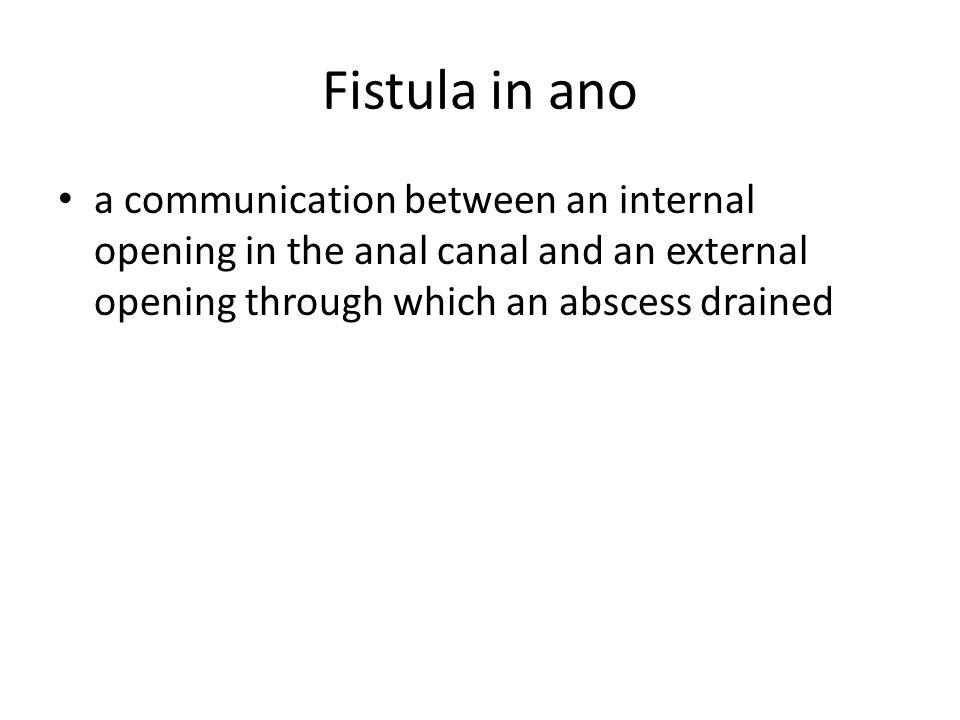 Fistula in ano a communication between an internal opening in the anal canal and an external opening through which an abscess drained.