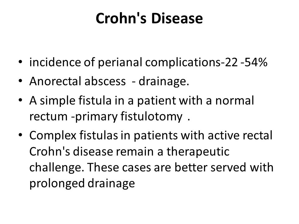 Crohn s Disease incidence of perianal complications %