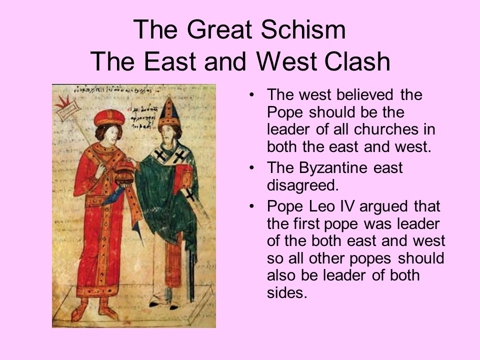 The Great Schism The East and West Clash