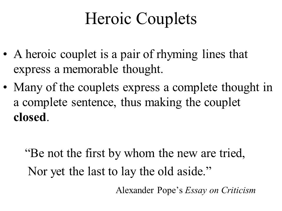Heroic Couplets Poems | Examples of Heroic Couplets Poetry