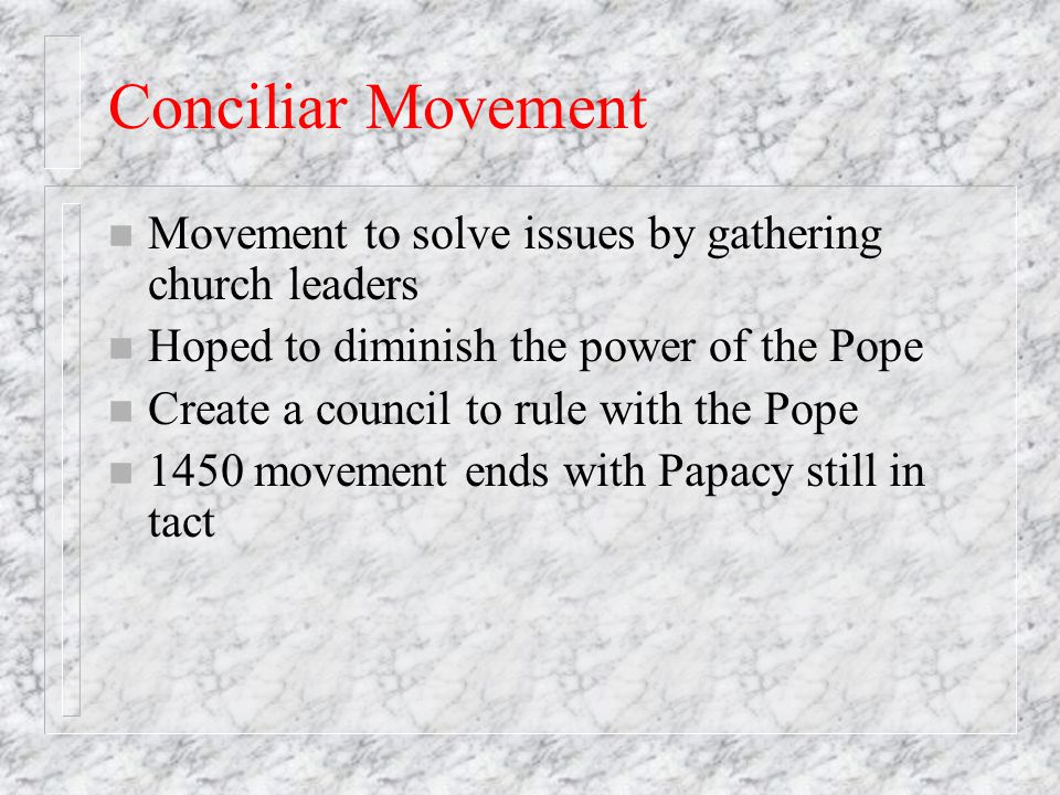 an introduction to the conciliar movement and schism Category: papers title: the conciliar movement and schism  introduction  background: teachers and administrators are recognizing what students need to .