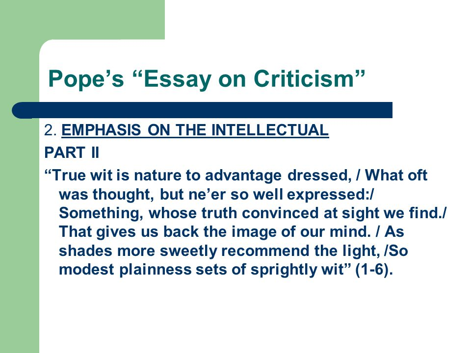 From An Essay On Criticism Summary