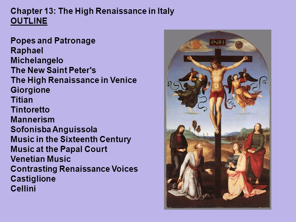 high renaissance to mannerism the transition Renaissance art marks the transition of europe from the medieval in northern italy the high renaissance represented by the religious paintings of giovanni.