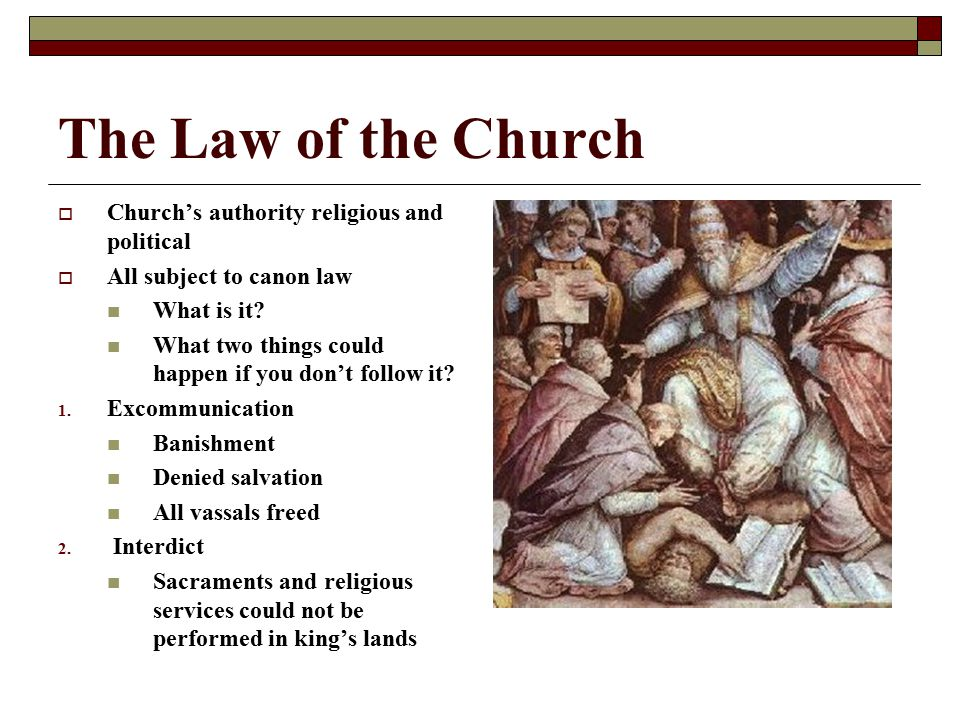 The Law of the Church Church's authority religious and political