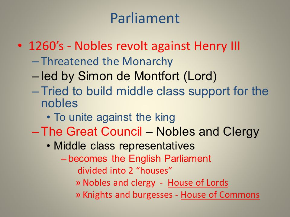 Parliament 1260's - Nobles revolt against Henry III