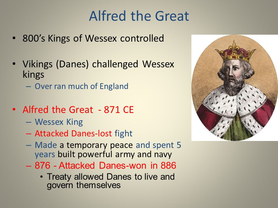 Alfred the Great 800's Kings of Wessex controlled